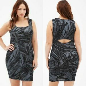 Forever 21 black and gray print dress 3x